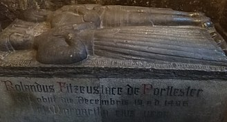 Rowland FitzEustace, 1st Baron Portlester - Funeral effigy of Rowland Fitzeustace (above) and his third wife Margaret  or Marguerite d'Artois (below), in St. Audoen's Church, Dublin (Church of Ireland)