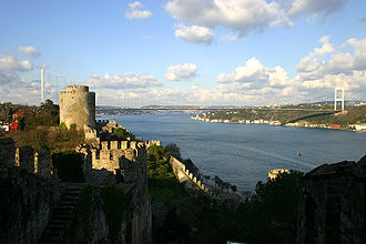 Intercontinental and transoceanic fixed links - Fatih Sultan Mehmet Bridge (1988) as seen from the Rumelian Castle (1452)