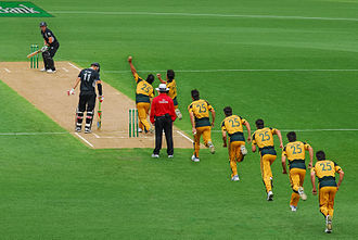 Run-up (cricket) - A photo montage showing the final stage of the run-up of fast bowler Mitchell Johnson