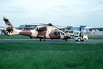 Sikorsky S-76 - An S-76B prototype helicopter modified as a fantail demonstrator for the RAH-66 program at 1991 Paris Air Show