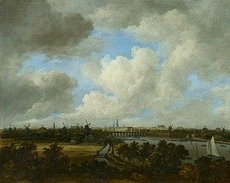 View on the Amstel from Amsteldijk - Image: SA 56435 Gezicht op Amsterdam vanaf de Amsteldijk