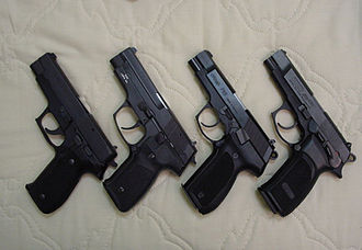 Walther P88 - Comparison (from left to right) SIG Sauer P226, TZ 99 (CZ 99), Walther P88,  Bersa Thunder 9