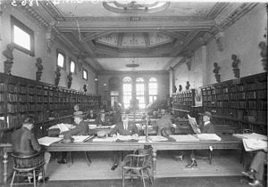 Sydney Mechanics' School of Arts - The reading room of the library in the 1920s, by Sam Hood
