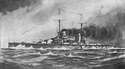 A pencil sketch of a dark-gray warship with two masts, two funnels, and four visible gun turrets at sea