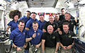 STS-134 and Expedition 27 crews during a special call from Pope Benedict XVI.jpg