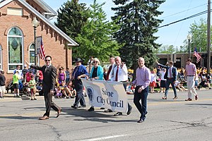 Saline, Michigan - Saline city councilors march in the 2014 Memorial Day Parade