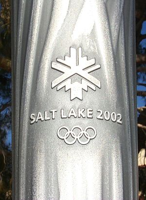 Close-up of 2002 Winter Games Olympic Torch