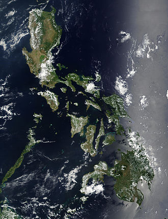 Outline of the Philippines - An enlargeable satellite image of the Philippines