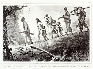 Sauvages civilisés soldats indiens de la province de la Coritiba, ramenant des sauvages prisionnières