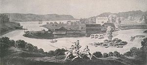 Illustration of a river, mills, and farmland