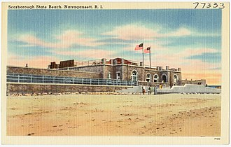 Scarborough Beach (Rhode Island) - Historic postcard image of Scarborough Beach