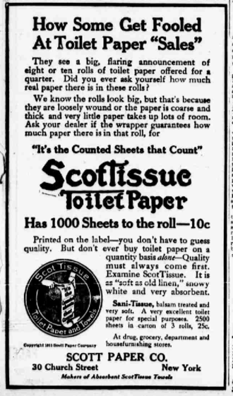Scott Paper Company - 1915 newspaper ad for the toilet paper made by the company.