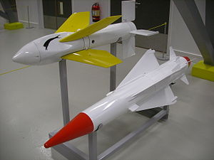 Seacat (missile) - Seacat (upper) and Seawolf missiles on display in IWM Duxford