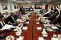 Secretary of Defense Chuck Hagel hosts joint meetings with west African leaders Cape Verde Prime Minister Jose Maria Neves, Malawi President Joyce Banda and Sierra Leone President Bai Koroma at the Pentagon.jpg