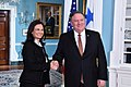 Secretary of State Pompeo shakes hands Panamanian Vice President and Foreign Minister Isabel Saint Malo (46073052775).jpg