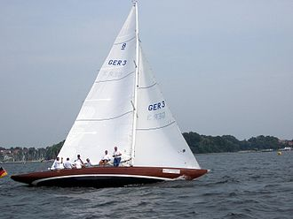 International rule (sailing) -  An international 8-metre boat.
