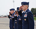 Senior leadership at Travis Air Force Base, Calif., renders honors as Secretary of State Hillary Rodham Clinton's aircraft arrives 100111-F-WV915-003.jpg