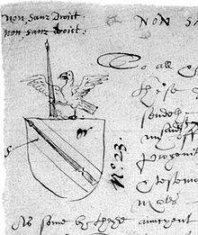 Shakespeare's coat of arms, as it appears on the rough draft of the application to grant a coat-of-arms to John Shakespeare. It features a spear as a pun on the family name.[e] (Source: Wikimedia)