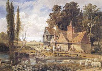 William Hull (artist) - Sheep washing – Enton Mill, Surrey (watercolour)