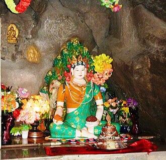 Padmasambhava - Statue of Princess Mandarava at Rewalsar Lake.