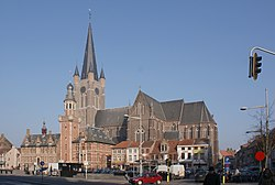 Eeklo City Hall, church, and market square