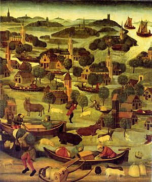 St. Elizabeth's flood (1421) - A near-contemporary painting depicting the St. Elizabeth's flood