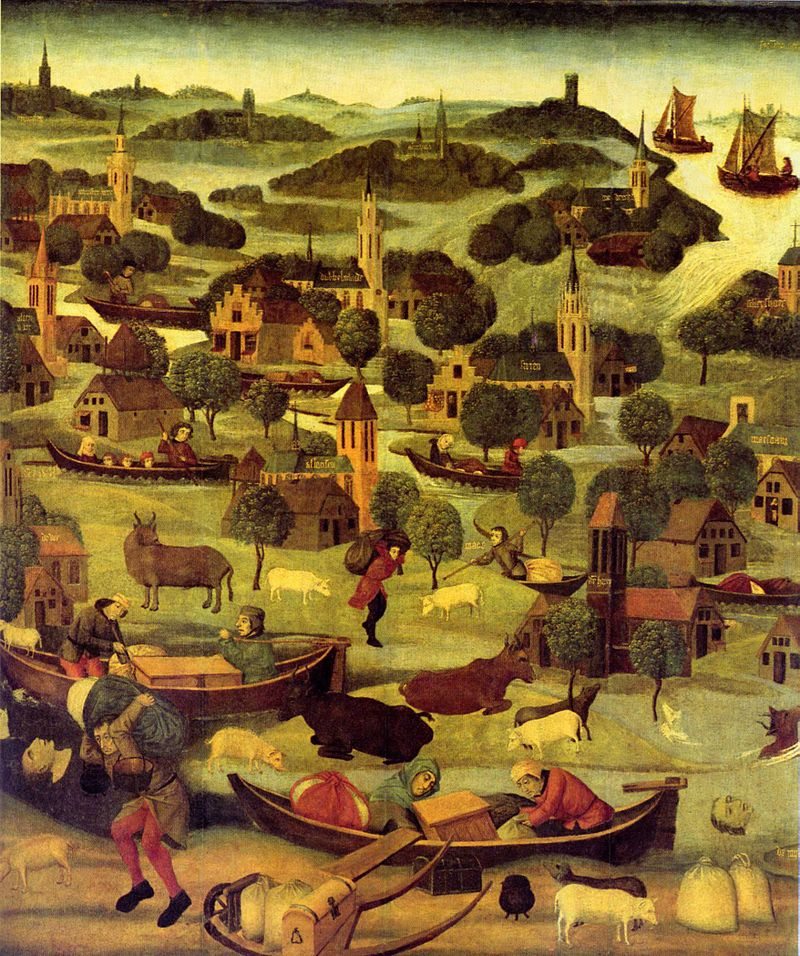 Die Elisabethenflut 1421 auf einem Gemälde von ca. 1490–1495.