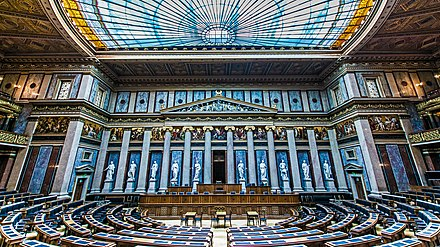 The Debating Chamber of the former House of Deputies of Austria in the parliament Sitzungssaal des Abgeordnetenhauses, Parlament, Wien.jpg