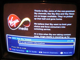 Sky News - Virgin Media's Electronic Program Guide contents after Virgin Media's contract to carry Sky News expired.