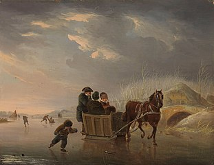 Winter Scene (Horse-Sleigh on the Ice)