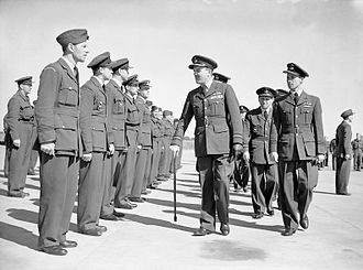 John Slessor - Air Marshal Slessor as Air Member for Personnel, inspecting Czecho-Slovak personnel during the farewell parade of Czech squadrons at Manston, Kent, in 1945