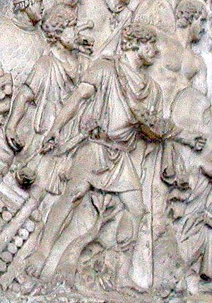Auxilia - Slingers from the cast of Trajan's Column in the Victoria and Albert Museum, London, 2nd century AD