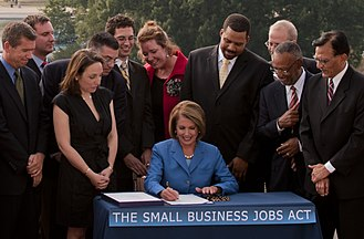 Small Business Jobs Act of 2010 - Speaker of the House Nancy Pelosi signing the bill after it passed in the House September 23 2010