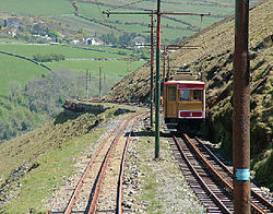 Snaefell Mountain Railway car no 4 on mountain.jpg