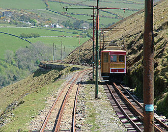 "Snaefell Mountain Railway - Car No.4 Note Central ""Fell"" Rail."
