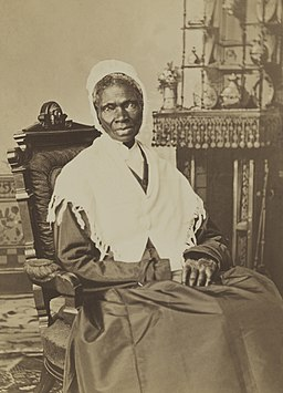 Black and white portrait of Sojourner Truth, taken in the year 1870 (cropped, restored)