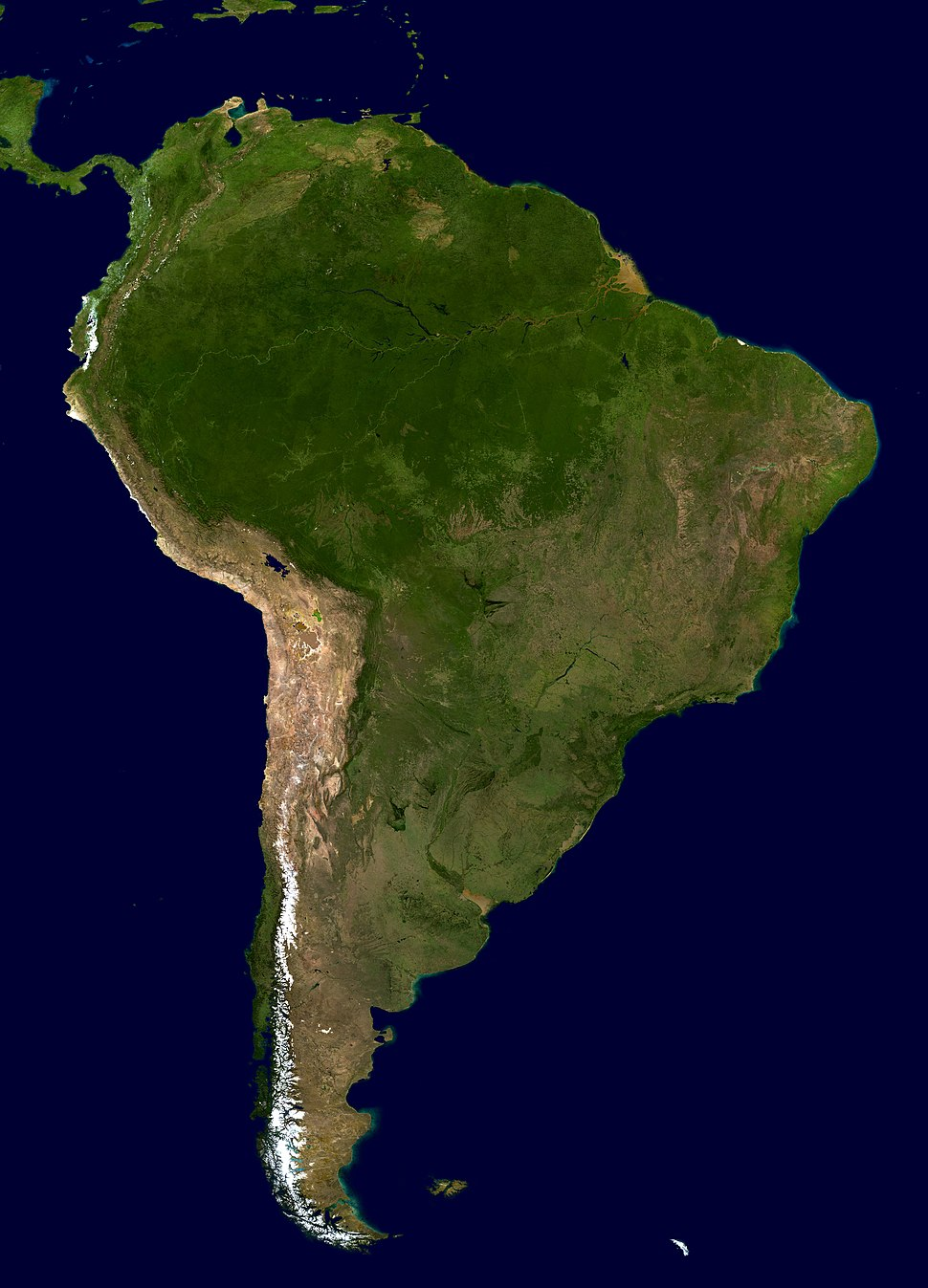 South America Blue Marble orthographic South