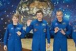 Soyuz MS-11 crew at the Baikonur Cosmodrome Museum.jpg