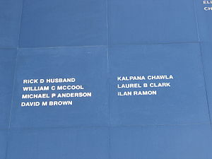 Space Mirror Memorial - Two panels show the names of the crew of STS-107's Space Shuttle ''Columbia''