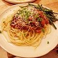 Spaghetti al ragú with haricot verts ラグーのスパゲッティ、インゲン添え.jpg