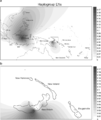 Spatial frequency distribution of mtDNA haplogroup E1a in Island Southeast Asia and the western Pacific.png