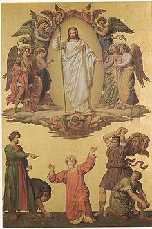 Johann von Schraudolph, Steinigung des Stephanus, zerstörtes Fresko im Speyerer Dom; links im grünen Mantel, König LudwigI. als Saulus. (Quelle: Wikimedia)