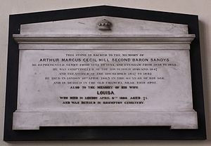 Baron Sandys - Ombersley Church, memorial to Arthur Marcus, Lord Sandys (1798–1863)