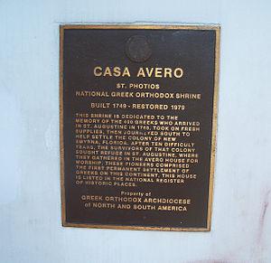 Avero House - Image: St Aug Avero House plaque 01