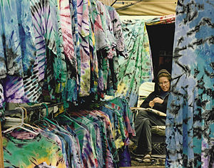 Shakedown Street (vending area) - Tie-dye shirts for sale at the Starlight Mountain Festival