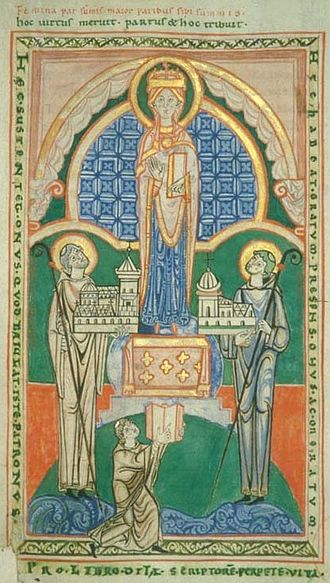 An illumination of Stephen Harding (right) presenting a model of his church to the Blessed Virgin Mary (Municipal Library, Dijon). Citeaux, c. 1125. At this period Cistercian illumination was the most advanced in France, but within 25 years it was abandoned altogether under the influence of Bernard of Clairvaux. Stephen Harding.jpg