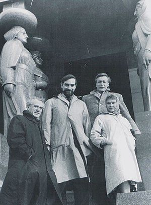 Judi Dench - Dench with Laurence Olivier, Joseph O'Conor, and John Neville at the Monument to the Unknown Hero on Mount Avala, Serbia in the early 1970s