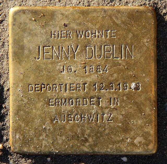 Photo of Jenny Dublin brass plaque