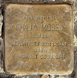 Photo of Chaja Moses brass plaque