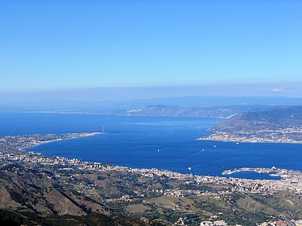 An obliged point of transit of the migration of the birds of prey is the bottleneck-shaped Strait of Messina, Sicily, here seen from Dinnammare mount, Peloritani. Strait of Messina from Dinnammare.jpg